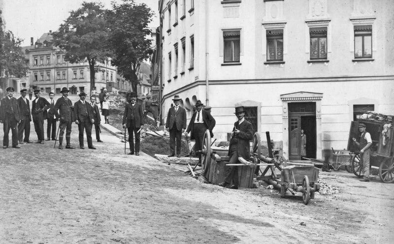 Strassenbau Am Graben in Reichenbach im Sommer 1926